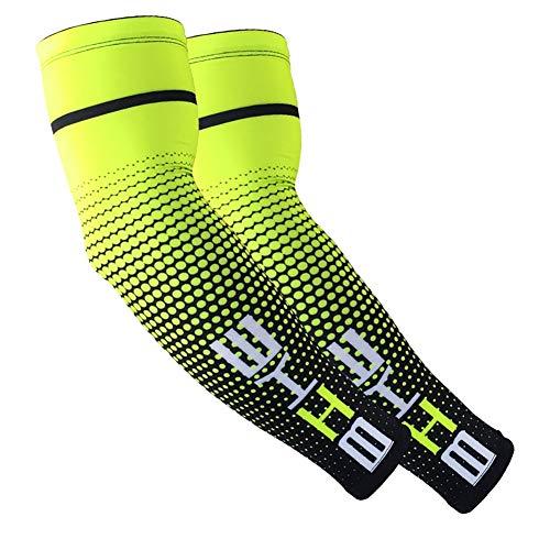 Aesy Manguitos Ciclismo, 1 Par Manguitos Bicicleta, Manguitos Running Hombre, Manguitos Ciclismo Invierno, UPF 50+Anti-UV de Protección Solar Ciclismo Bike Running Voleibol Deporte (L, Verde)