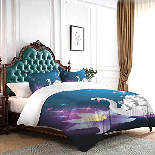 MUYIXUAN Printed Duvet Cover Double Swan Magic Lily And Fairy Swan At Night Swimming In Lake Under Moon And Stars Picture Art Blue White Hotel College Dorm Decorative 3pcs Bedding Set With