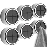Eiqer 8 Pack Kitchen Towel Holder, Self Adhesive Wall Dish Towel Hook, Round Wall Mount Towel Holder for Bathroom, Kitchen and Home, Wall, Cabinet, Garage, No Drilling Required