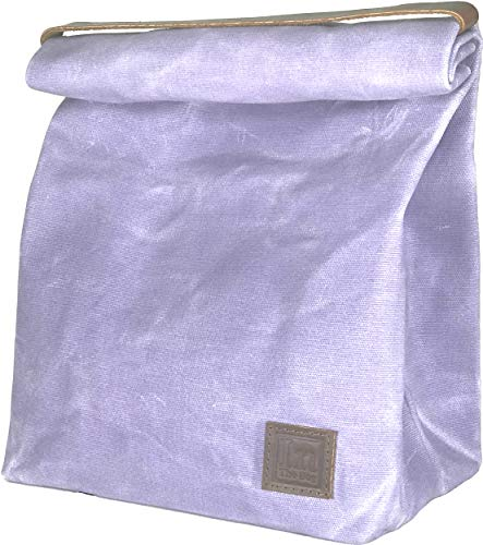 Lunch Bag (Lunch Box) Large Lined Waxed Canvas Roll Top Tote Bag; Leather Handle and Brass Snap Closure - Periwinkle Gray/Lilac/Lavender - by In The Bag