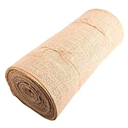 Roll of burlap hessian fabric.