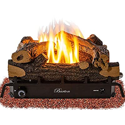 Barton Premium 18-inch Vent-Free Natural Gas Log Set 30,000 BTU Dual Burner Glowing Ember ANSI Certified Burner