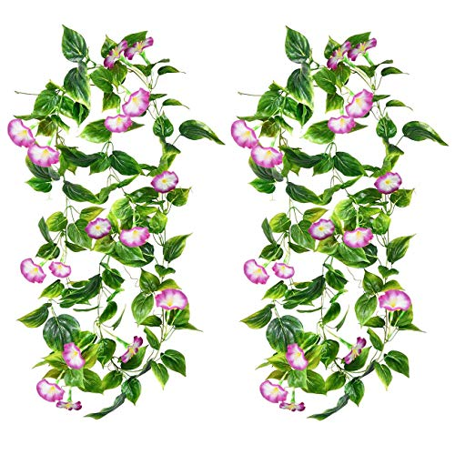 Udefineit 2PCS 4.6m/15ft Artificial Silk Trumpet Floral Trailing Vines, Fake Hanging Morning Glory Flower Garlands, Faux Petunia Rattan Foliage for Home Garden Wall Fence Wedding Party Decor - Purple