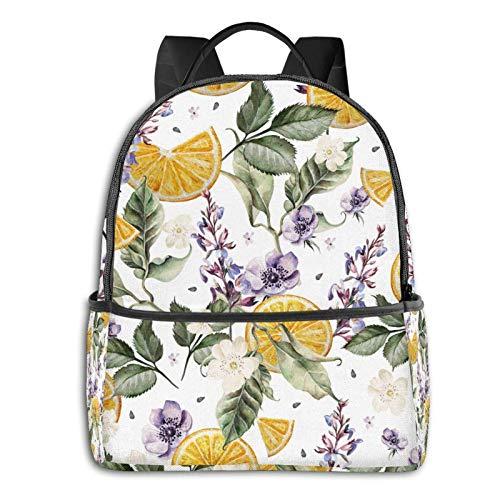AOOEDM Backpack Large School Backpack for Women Men Lavender Flowers, Anemones and Orange Fruits Bookbag Laptop Bag Daypack