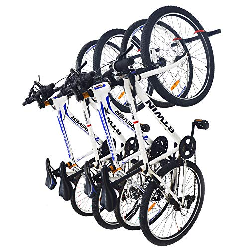 Qualward Bike Wall Mount Storage Rack for Garage & Home Bicycle Hanger - Hanging 4 Bicycles, 2 Pack