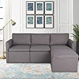 TITIMO Convertible Sectional Sofa Couch, L-Shaped Couch 3-Seat Sofa with Modern Linen Fabric and Removable Ottoman for Small & Compact Spaces, Apartment, Dorm, Bonus Room (Grey)