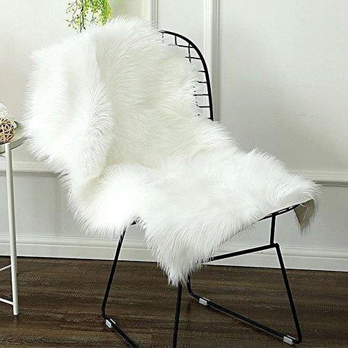 HAOCOOムートンラグ 人造シープスキンラグ 毛長タイプ ふんわり 柔らかい 人工ウール ベッドルームラグ ラグマット 滑り止め アイボリー 60*100cm 超可愛い 絨毯 超良い じゅうたん カーペット (ホワイト)