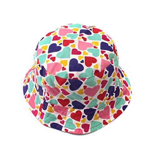 Sticker Superb Mädchen Rosa Liebe Sonnenhut UV-Schutz Baumwolle Hut Baby Kind Strand Fischer Hut Frühling Sommer und Herbstreise (5-8 Jahren)
