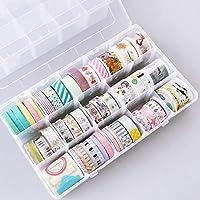 15グリッドプラスチック透明多機能粘着テープ和紙収納ボックスDIYステーショナリーテープオーガナイザーケース用品