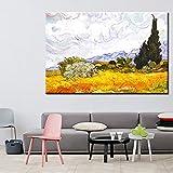 wZUN La Famosa Pintura de Van Gogh, Campo de Trigo impresionista y ciprés en la Pared, réplicas, Lienzo de Arte Mural en la Pared 60x90 Sin Marco