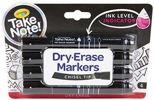 Crayola Low Odor Dry Erase Markers, Chisel Tip, Office & Classroom Supplies, Kids Indoor Activities at Home, 4 Count