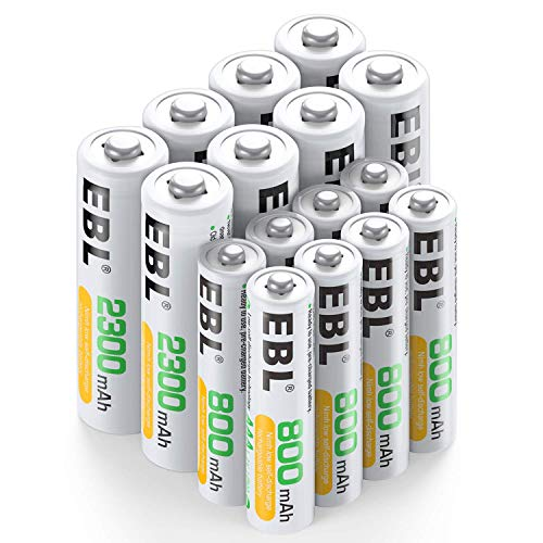 EBL NI-MH Akku 16er Kombi-Pack, 8X AA Mignon 2300mAh + 8X AAA Micro 800mAh, 1200 Ladezyklen, Starke Leistung und geringe Selbstentladung