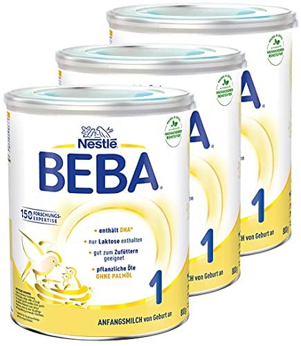 Nestlé BEBA 1 Anfangsmilch, Anfangsnahrung von Geburt an, 3er Pack (3 x 800g)