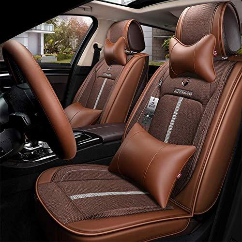 Preisvergleich Produktbild WSJ Four Seasons Universal-Autositzbezug,  atmungsaktiver und komfortabler Leinen-Sitzbezug,  fünf Sätze Universal-Airbags vorn und hinten,  braun