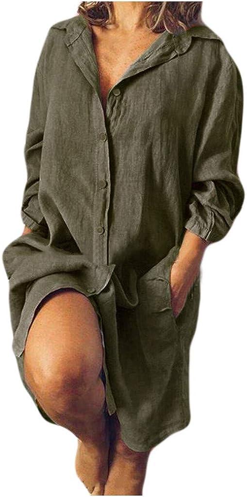 Women V Neck Floral Print Plain T-Shirt Dress Loose Long Sleeve Casual Long Tunic Tops