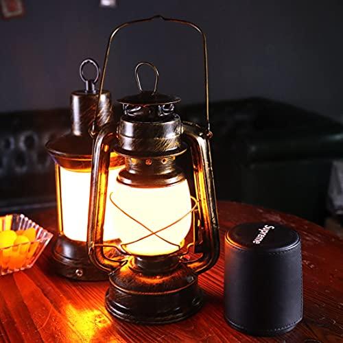 LANMOU Retro Linterna LED Lámpara de Mesa Inalámbrica Regulable Lámpara de Cámping Recargable Farol Vintage Luces de Llama Con Cargador, 3 Modos de Iluminación, Luz Nocturna Para Jardín, Bronze