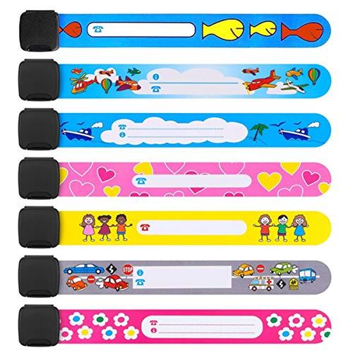 Sicherheits-Armband, wiederverwendbar und wasserdicht, PVC, Anti-Verlust, Notfall-Armband für Kinder, Jungen, Mädchen, Kleinkind, Baby, zufälliges Muster, 20 Stück