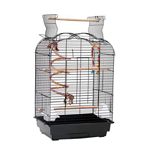 Cage à Oiseaux Portable, Cage Oiseaux Interieur avec Poignée, Toits Voûté Ouvrant, Équipée 2 Perchoir en Bois, 2 Mangeoires, 2 Jouets, Cage dElevage Oiseaux Perruche Perroquet Canari, 46x36x70cm,Noir