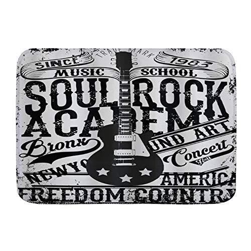 VINISATH Alfombra de baño,Póster Retro Soul Rock Academy Theme Music School Guitarra...
