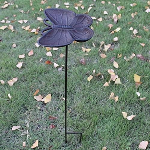 Jardín retro Villa Patio Hierro Fundido Mariposa Pájaro Alimentador Pájaros Tazón Jardín Hierba Ornamento Decoración Flor Inserto