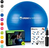 URBNFit Exercise Ball (Multiple Sizes) for Fitness, Stability, Balance & Yoga - Workout Guide & Quick Pump Included - Anti Burst Professional Quality Design (Blue, 45CM)