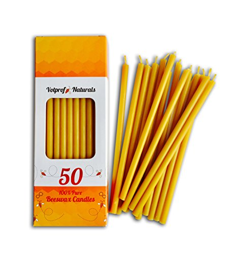 50 All Natural Dcor 100% Pure Beeswax Taper Candles  Tall (6 in), Unscented, Dripless, Smokeless, Slow Burning, Non Toxic, Honey Scent - for Home, Dinner, Cake, Prayer, Church, Hanukkah, Christmas
