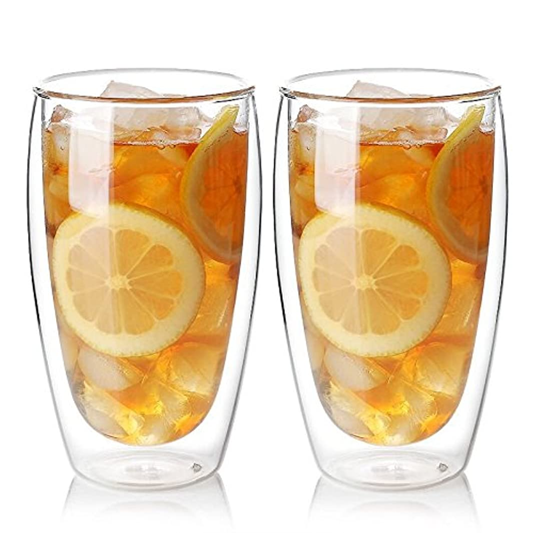 Zen Room Ultra Clear Strong Double Wall Glass, Insulated Thermo & Heat Resistant Design, Dishwasher and Microwave Safe, Made of Real Borosilicate Glass (21oz Set of 2)