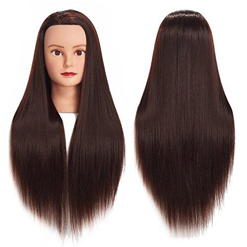 66 cm-28 Mannequin Kopf Hair Styling Training Head Schraubenmännchen Kosmetologie Puppe Kopf Kunstfaser Haar Friseur Training Modell mit inklusive Klemme (Brown)