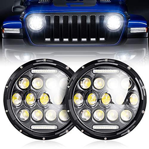 nifeida Pair 7' Round Black Cree Led Headlights Compatible with Jeep Wrangler JK...
