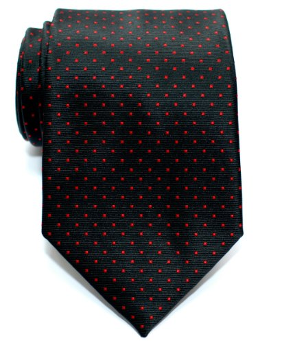 Retreez Corbata de microfibra con puntitos para hombres Negro con el punto rojo