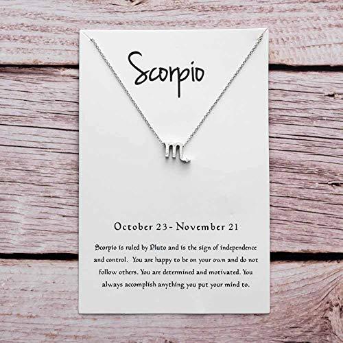 YUANMAO Collar con colgante de tarjeta de papel de constelación, oro y astilla, collar de cadena de clavícula, regalo de plata Escorpio