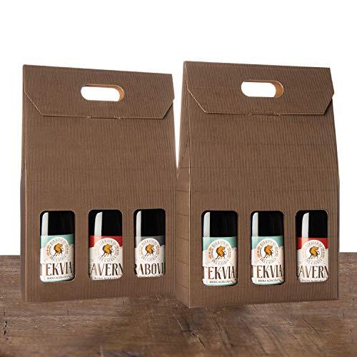 BIRRE AMBRATE, ROSSE E SCURE - Artigianale Agricola - 6 bottiglie 75 cl - (2 HERETIUS double ipa + 2 TEKVIA ambrata + 1 KLAVERNIA Dark Strong Ale + 1 GRABOVIA stout) - confezione regalo