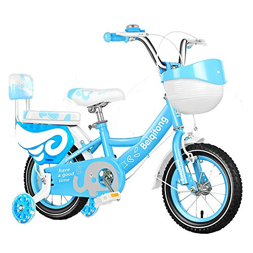 """Axdwfd Kids Bike 12"""",14"""",16"""",18""""High Carbon Steel Children's Bicycle with Training Wheel Gift for 2-13 Years Old Boys and Girls Bicycle (Color : Blue, Size : 12in)"""