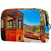 化粧トイレタリーバッグ 巾着化粧鞄, オレンジ色の電車と車
