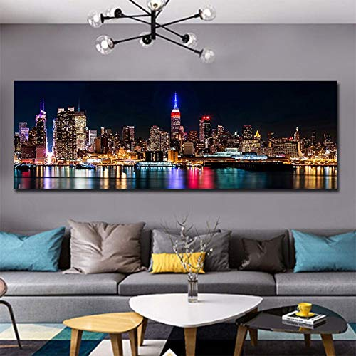 N / A Digital Night Vision Photography Wall Art Picture Modern City Building Decoration Picture Frameless Painting 20cmx60cm