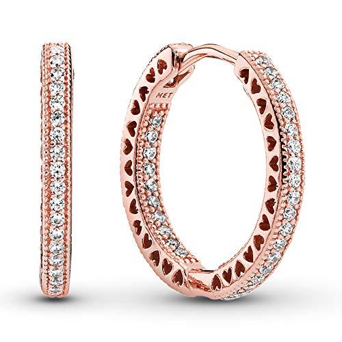 Pandora Pendientes de aro brillantes y corazones en oro rosa con aleación de metal chapado en oro rosa de 14 quilates y circonitas cúbicas de la colección Pandora Signature