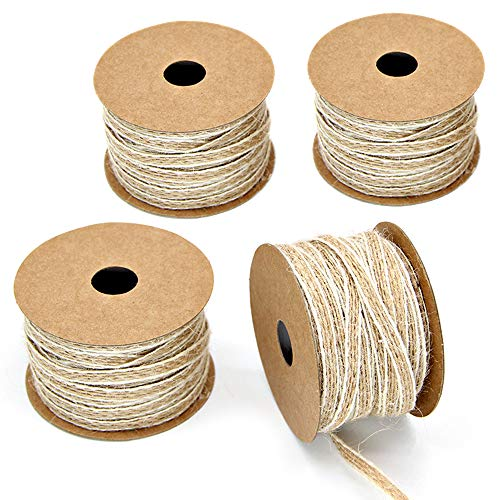 Keleily Cinta Arpillera 4 Rollos Cinta de Yute, Cinta Artesanal Natural para Envoltura de Regalos Correa Costura Boda Decoración del Hogar Bricolaje (10m x 0.5cm)