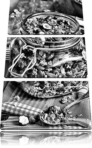 Honing granola in een kruikFoto Canvas 3 deel | Maat: 120x80 cm | Wanddecoraties | Kunstdruk | Volledig gemonteerd