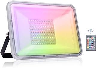 Viugreum 100W RGB LED Foco de Colores, IP67 Foco LED RGB, Control Remoto Inalámbrico con 16 Colores y 4 Modos Proyector LED,RGB Floodlight, Luz Interior y Exterior para Navidad,Jardín,bodas.