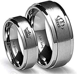 Stainless Steel Fashion Her King, His Queen Shining Couple Ring Set as Gift For Man and Women