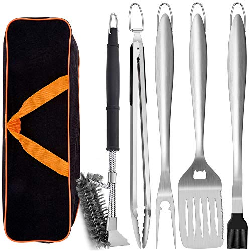Leonyo Grill Tools Set of 6 18-inch Extra-long BBQ Tool Set Heavy-duty Barbecue Grilling Accessories Stainless Steel Spatula Fork Tong Basting Brush Cleaning Brush Carrying Bag - Black Handle