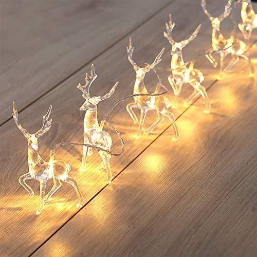 Cordão de luzes de Natal, operado por bateria, branco quente, rena, cordão de luzes de fada, decoração de Natal, rena de Natal, 10 luzes de LED para decoração de quarto, luz de fada à prova d'água para ambientes internos