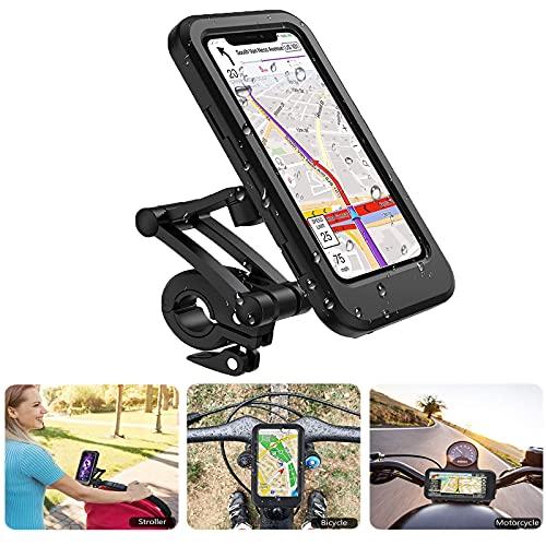 Fahrrad wasserdicht Handy Halterung, 360 Grad Drehung, Höhe verstellbar, mit Touchscreen, geeignet für Motorrad Lenker GPS, iPhone, Samsung, Huawei und alle 4-7 Zoll Handys