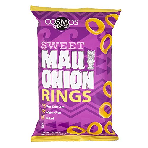 Cosmos Creations Sweet Maui Onion Rings 3.5 Oz - Delicious Baked Corn Puff Snack - Savory Onion Baked Rings - Gluten Free and Non-GMO 3.5 oz