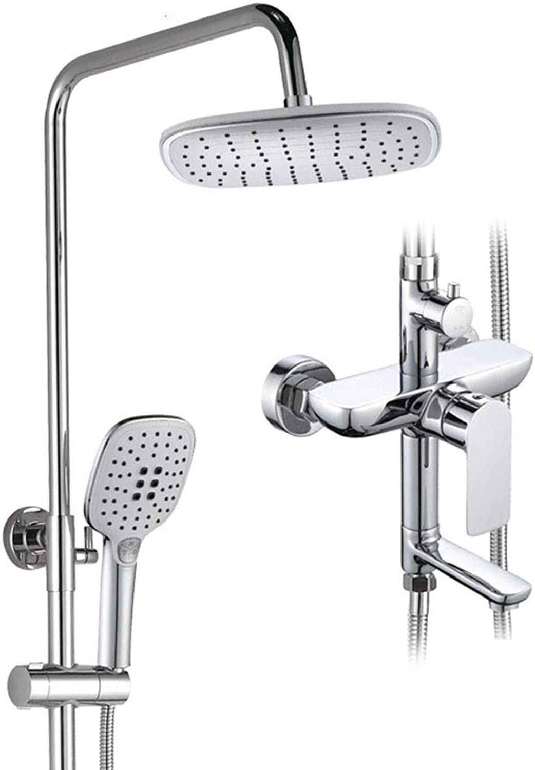 Shower Faucets Set Chrome Bath Bathtub Mixer Faucet Rainfall Shower Tap Bathroom Shower Head Wall Mounted Bathroom Mixer