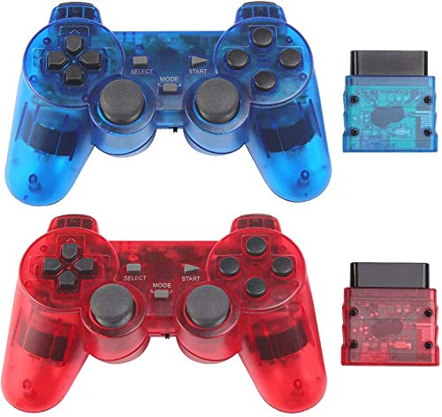 AUFGLO Classic Wireless Controller for Ps2 Dual Shock 2 Playstation 2 Pc (ClearRed and ClearBlue)