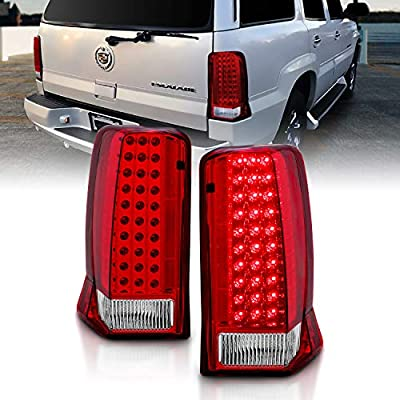 AmeriLite Red/Clear LED Tail Lights for Cadillac Escalade - Passenger and Driver Side