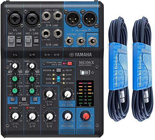 For Sale! Yamaha MG06X 6-Channel Stereo Mixer Bundle with 2 x 15ft XLR Cable
