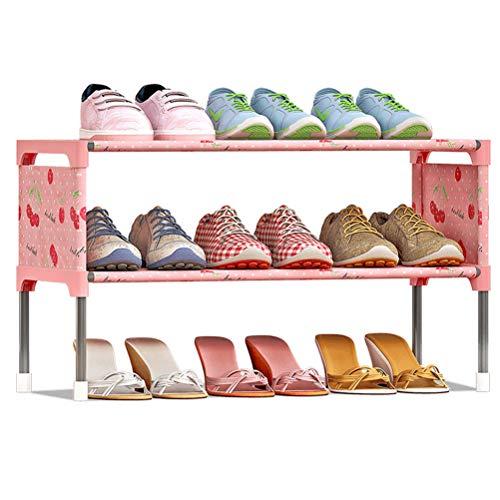 Wanforjewellery 3 Faltschrank Schuhständer, Stoffschrank Schuhe, 58 * 26 * 32cm,Pink