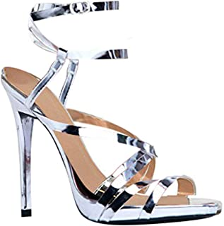 Womens Ankle Strap High Heel Sandals - Dress, Wedding, Party Heeled Shiny Pumps - Elegant, Comfortable & Strappy